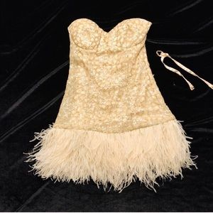 Bebe formal strapless dress with feather bottom